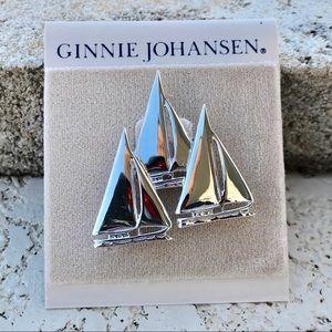 VINTAGE Sailboats Regatta Silver Pin Brooch
